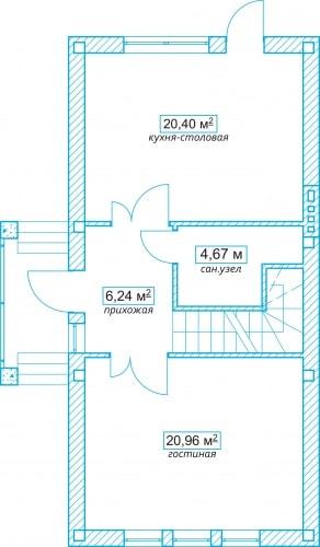 Планировочное решение 102 кв.м Первый этаж