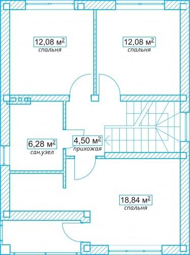 Планировочное решение 106 кв.м Второй этаж