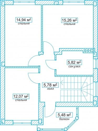 Планировочное решение 115 кв.м Второй этаж