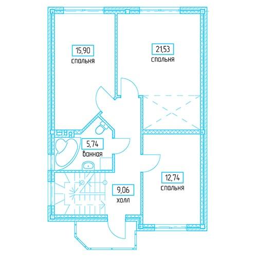 Планировочное решение 136,96 кв.м Второй этаж