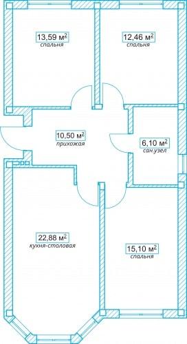Планировочное решение коттеджа 80 кв.м